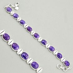 925 silver 37.86cts natural purple charoite (siberian) tennis bracelet r4398