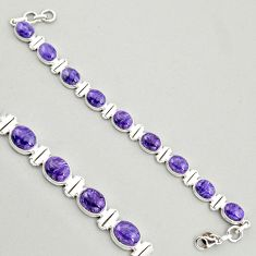 38.72cts natural purple charoite (siberian) 925 silver tennis bracelet r4399