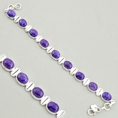 38.31cts natural purple charoite (siberian) 925 silver tennis bracelet r4400