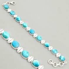 39.03cts natural blue larimar 925 sterling silver tennis bracelet jewelry r4413