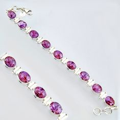 39.01cts natural purple cacoxenite super seven 925 silver tennis bracelet r4421
