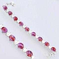 38.31cts natural purple cacoxenite super seven 925 silver tennis bracelet r4422