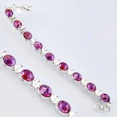 37.45cts natural purple cacoxenite super seven 925 silver tennis bracelet r4423
