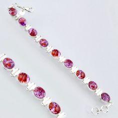925 silver 38.72cts natural purple cacoxenite super seven tennis bracelet r4424