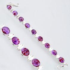 39.48cts natural purple cacoxenite super seven 925 silver tennis bracelet r4426
