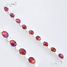 37.86cts natural purple cacoxenite super seven 925 silver tennis bracelet r4427