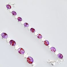 925 silver 39.48cts natural purple cacoxenite super seven tennis bracelet r4428