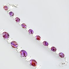 39.01cts natural purple cacoxenite super seven 925 silver tennis bracelet r4430