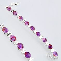 39.48cts natural purple cacoxenite super seven 925 silver tennis bracelet r4431