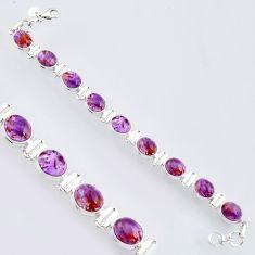 925 silver 39.01cts natural purple cacoxenite super seven tennis bracelet r4432
