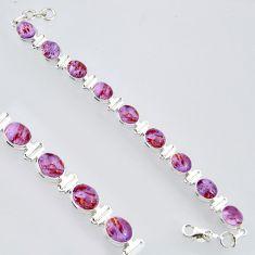 39.03cts natural purple cacoxenite super seven 925 silver tennis bracelet r4434