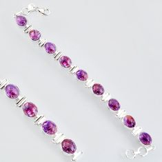 38.72cts natural purple cacoxenite super seven 925 silver tennis bracelet r4435