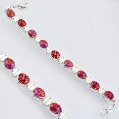 39.01cts natural purple cacoxenite super seven 925 silver tennis bracelet r4436