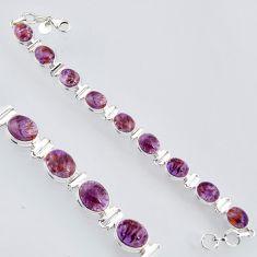 925 silver 39.01cts natural purple cacoxenite super seven tennis bracelet r4437
