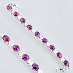 38.62cts natural purple cacoxenite super seven 925 silver tennis bracelet r4439