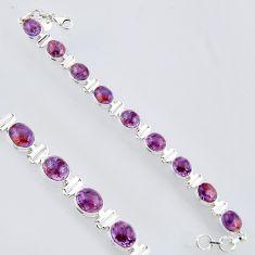 38.62cts natural purple cacoxenite super seven 925 silver tennis bracelet r4439