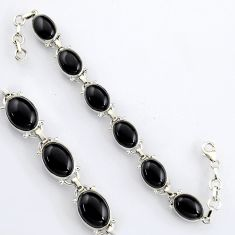 41.40cts natural black onyx 925 sterling silver tennis bracelet jewelry r4641