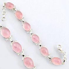 40.17cts natural pink rose quartz 925 sterling silver tennis bracelet r4645