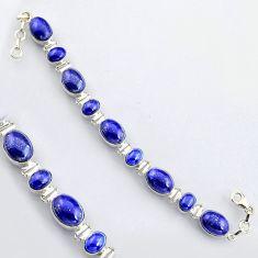 44.03cts natural blue lapis lazuli 925 sterling silver tennis bracelet r4650
