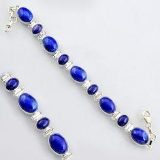 925 sterling silver 42.82cts natural blue lapis lazuli tennis bracelet r4652