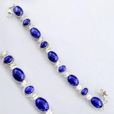 45.16cts natural blue lapis lazuli 925 sterling silver tennis bracelet r4653