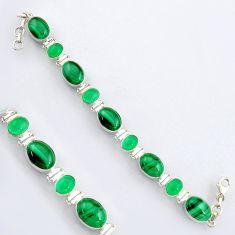 925 silver 43.58cts natural green malachite oval shape tennis bracelet r4655