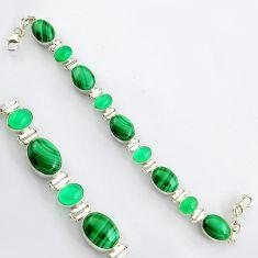 41.53cts natural malachite (pilot's stone) 925 silver tennis bracelet r4656
