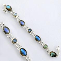 34.26cts natural blue labradorite 925 sterling silver tennis bracelet r4659