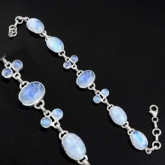 37.16cts natural rainbow moonstone 925 sterling silver tennis bracelet r4661