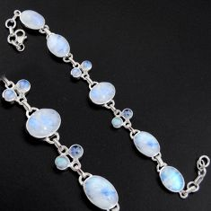 36.26cts natural rainbow moonstone 925 sterling silver tennis bracelet r4662