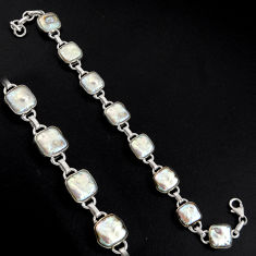 37.97cts natural white pearl 925 sterling silver tennis bracelet jewelry r4666