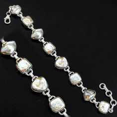 925 sterling silver 37.90cts natural white pearl tennis bracelet jewelry r4668