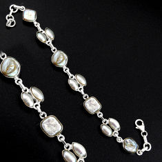 31.28cts natural white pearl 925 sterling silver tennis bracelet jewelry r4670