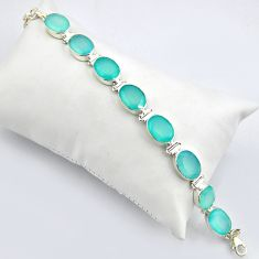 54.31cts natural aqua chalcedony 925 sterling silver tennis bracelet r4676