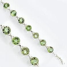 925 sterling silver 57.28cts natural green amethyst tennis bracelet r4679