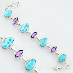 32.32cts natural blue larimar amethyst 925 sterling silver tennis bracelet r4685