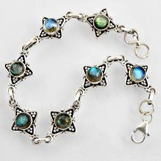 925 sterling silver 9.18cts natural blue labradorite tennis bracelet r4707