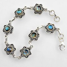 9.28cts natural blue labradorite 925 sterling silver tennis bracelet r4709