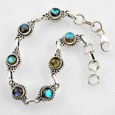 9.00cts natural blue labradorite 925 sterling silver tennis bracelet r4710