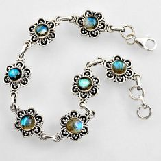 925 sterling silver 9.58cts natural blue labradorite tennis bracelet r4711