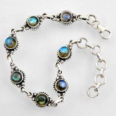 8.82cts natural blue labradorite 925 sterling silver tennis bracelet r4716