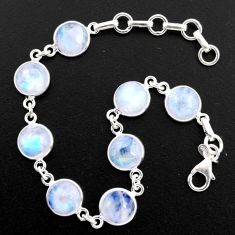 29.93cts natural rainbow moonstone 925 sterling silver tennis bracelet r4719