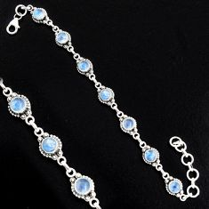 925 sterling silver 9.80cts natural rainbow moonstone tennis bracelet r4724
