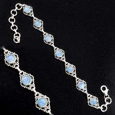 9.18cts natural rainbow moonstone 925 sterling silver tennis bracelet r4726