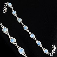 9.80cts natural rainbow moonstone 925 sterling silver tennis bracelet r4727
