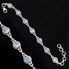 8.82cts natural rainbow moonstone 925 sterling silver tennis bracelet r4728
