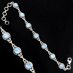 9.01cts natural rainbow moonstone 925 sterling silver tennis bracelet r4737