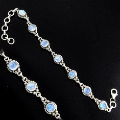 925 sterling silver 8.85cts natural rainbow moonstone tennis bracelet r4738