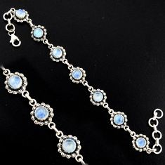 9.36cts natural rainbow moonstone 925 sterling silver tennis bracelet r4739