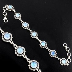 925 sterling silver 9.51cts natural rainbow moonstone tennis bracelet r4740